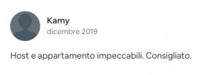 Recensione Airbnb positiva Vicolo J. da Ponte